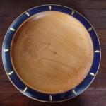 Holzteller bemalt dunkelblau gold