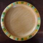 Holzteller bemalt grün orange gelb geometrisch 2
